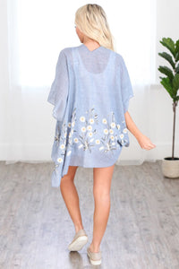 Blue Floral Cover up Kimono