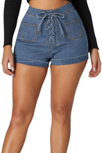 Load image into Gallery viewer, Blue Lace Up Front Cotton Jean Shorts