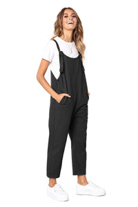 Black Pockets Dungaree Jumpsuit