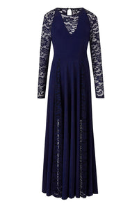 Blue Night Lace Insert Plus Size Maxi Dress