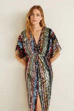 Load image into Gallery viewer, Multicolor Sequin Deep V Neck Tunic Dress