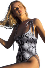 Load image into Gallery viewer, Snake Print High Cut Tie Shoulder Straps One Piece Swimsuit