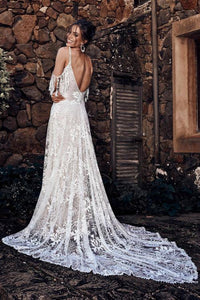 White Secret Garden Embroidery Lace Wedding Party Dress
