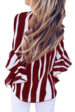 Load image into Gallery viewer, Red Vertical Stripes V Neck 3/4 Sleeve Blouse