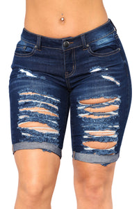Dark Blue Denim Ripped Bermuda Shorts