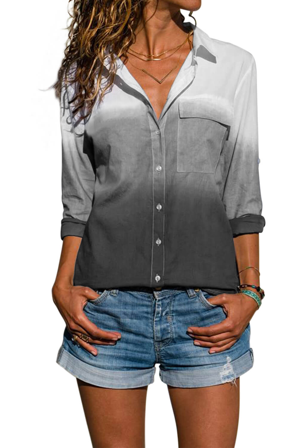 Gray Ombre V Neck Roll Long Sleeve Button Down Shirt