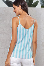 Load image into Gallery viewer, Sky Blue Button Up V Neck Strappy Shirt Cami Top