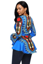 Load image into Gallery viewer, Blue African Print Zipper Front Long Sleeve Top