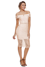 Load image into Gallery viewer, Apricot Lace Bardot Midi Dress