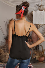 Load image into Gallery viewer, Black V-Neck Ruffle Adjustable Spaghetti Strap Tank Top