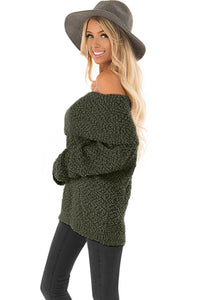 Green Off The Shoulder Comfy Sweater