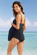 Load image into Gallery viewer, Black Tank Top Maternity Swimsuit with Panty