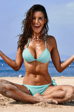 Load image into Gallery viewer, Sky Blue Halter Triangular Bikini with Ties