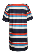 Load image into Gallery viewer, Black Striped Pattern Loose T-shirt Dress