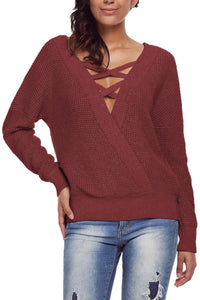 Red Cross Back Hollow-out Sweater