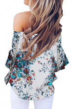 Load image into Gallery viewer, White Off Shoulder Floral Tie Front High Low Chiffon Blouse