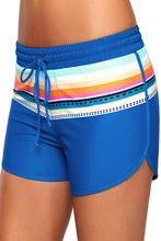 Load image into Gallery viewer, Striped Print Accent Cobalt Blue Drawstring Board Shorts