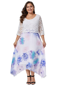 White Plus Size Floral Dress With Lace Overlay