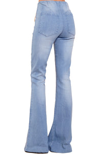 Sky Blue Bring On The Peace Dark Denim Flare Jeans