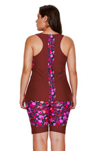 Load image into Gallery viewer, Burgundy Floral Insert Tankini and Short Sports Suit