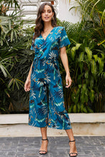Load image into Gallery viewer, Sky Blue Wrap V Neck Floral Wide Leg Jumpsuit with Belt