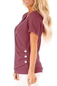 Red Waffle Knit V Neck Short Sleeve Cross Wrap Top
