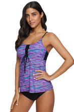 Load image into Gallery viewer, Blue Banded Printed Tankini Top with Triangle Briefs Swimsuit