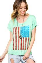 Load image into Gallery viewer, Light Mint American Flag Graphic Short Sleeve Tee