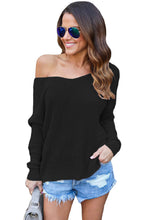 Load image into Gallery viewer, Black Knit Sweater with Twist Back Detail