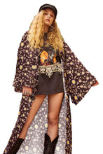 Load image into Gallery viewer, Brown Her Majesty Floral Print Kimono Coat