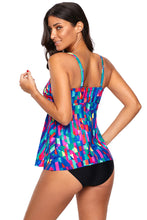 Load image into Gallery viewer, Painterly Color Block Flyaway Tankini 2pcs Swimsuit