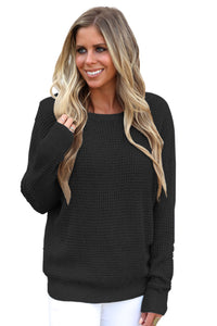Black Cross Back Hollow-out Sweater