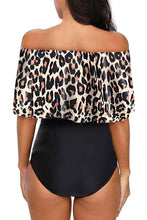 Load image into Gallery viewer, Leopard Printed Off Shoulder Flounce Overlay One-piece Swimwear