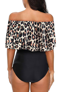 Leopard Printed Off Shoulder Flounce Overlay One-piece Swimwear