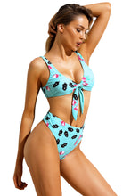 Load image into Gallery viewer, Light Blue Rose Print Tie Front High Waist Bikinis