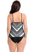 Load image into Gallery viewer, Black Scalloped Print Tankini Swimsuit