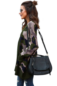 Attention Cotton Camo Pocketed Cardigan