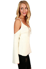 Load image into Gallery viewer, White Cold Shoulder Bell Sleeve Sweater