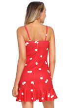 Load image into Gallery viewer, Red Sweet Cheery Print Ruffle Hem Mini Dress