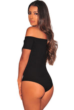 Load image into Gallery viewer, Black Ribbed Knit Off Shoulder Button Bodysuit