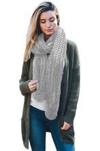 Load image into Gallery viewer, Gray Pom Pom Ribbed Knit Scarf