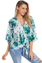 Load image into Gallery viewer, Green Flowerlet Print Tie Front Kimono Sleeve Blouse