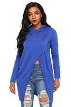 Load image into Gallery viewer, Royal Blue Split Front Zipped Hoodie