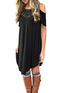 Black Lace Hollow-out Cold Shoulder Casual Dress