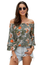 Load image into Gallery viewer, Gray Elasticised Neck Floral Print Blouse