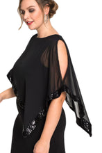 Load image into Gallery viewer, Black Plus Size Cold Shoulder Sequin Mesh Poncho Maxi Dress