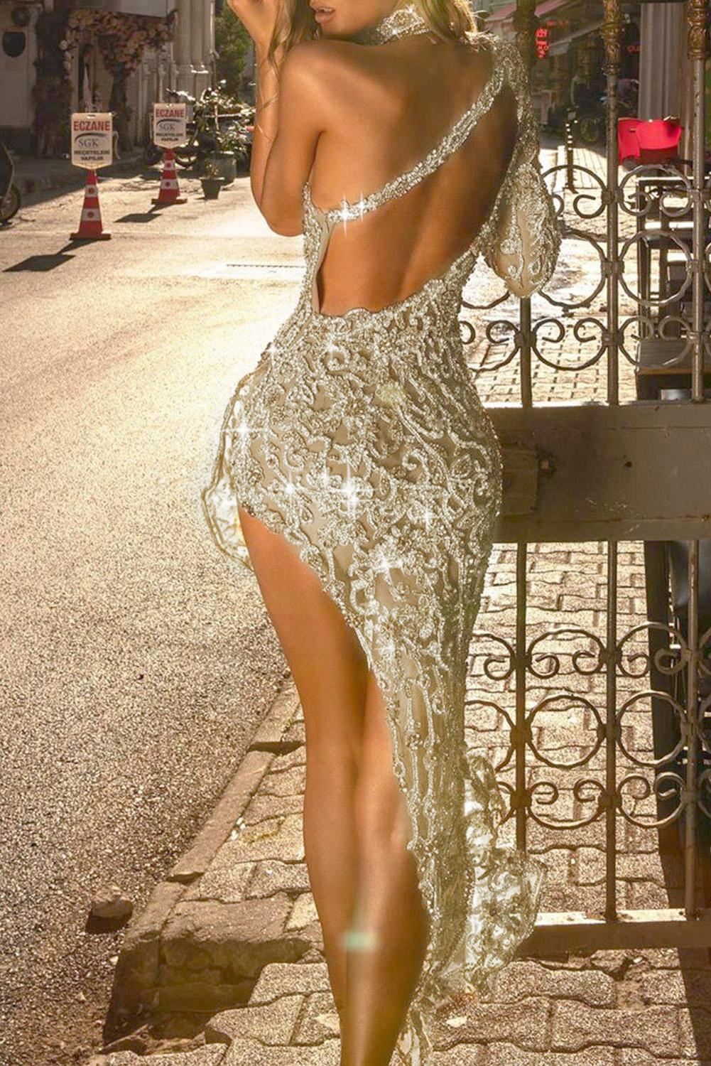 Single Shoulder Off-the-Shoulder Sequin Party Dress