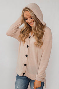 Apricot Sweet Dream Thermal Knit Hoodie Outwear