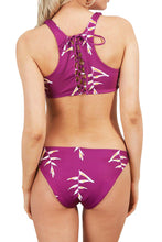 Load image into Gallery viewer, Fuchsia Print Lace up Racerback Bikini