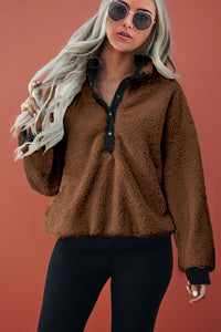 Brown Fleece Pullover Sweatshirt